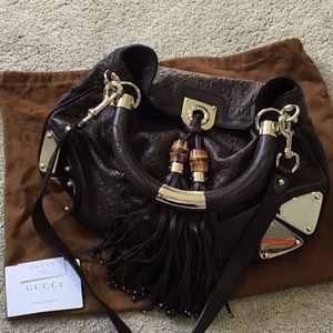 Authentic Gucci Brown Leather Hobo bag